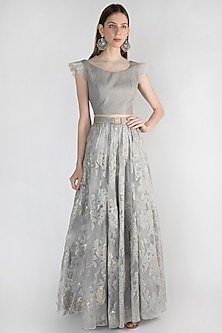 Grey Embroidered Top With Skirt by Rocky Star