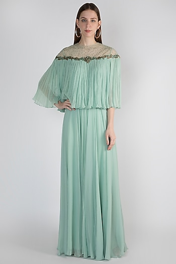 Sage Green Embroidered Top With Skirt by Rocky Star