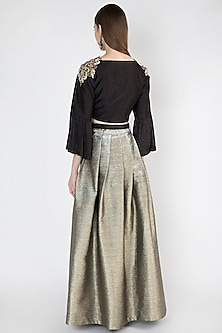 Black Embroidered Top With Skirt by Rocky Star