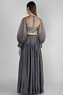 Dark Grey Embellished Top With Skirt by Rocky Star