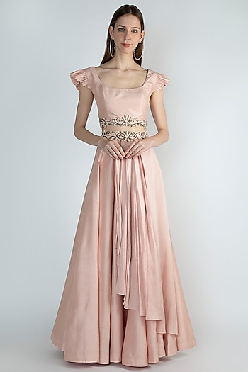 Pink Embroidered Top & Skirt by Rocky Star