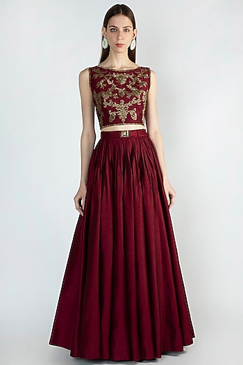 Maroon Embroidered Top With Skirt & Belt by Rocky Star