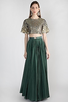 Olive Green Embellished Top With Skirt & Belt by Rocky Star
