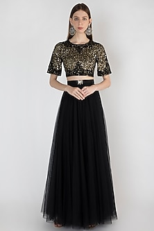 Black Embroidered Top With Skirt & Belt by Rocky Star