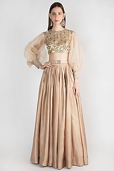 Beige Embroidered Top With Skirt & Belt by Rocky Star