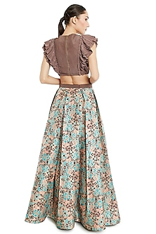 Brown & Multi Colored Skirt Set by Rocky Star
