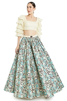 Ivory & Multi Colored Skirt Set by Rocky Star