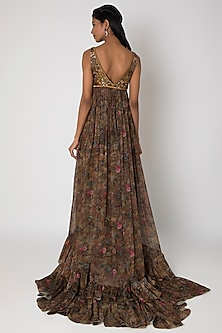 Brown Embroidered & Printed Gown by Rocky Star