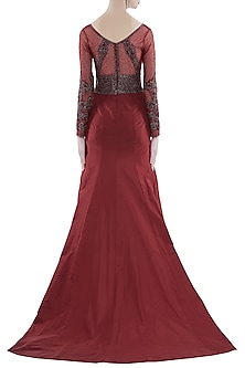 Red Hand Embroidered Mermaid Style Gown by Rocky Star