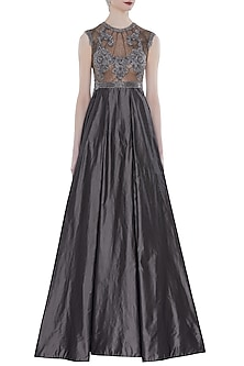 Grey Hand Embroidered Sleeveless Gown by Rocky Star