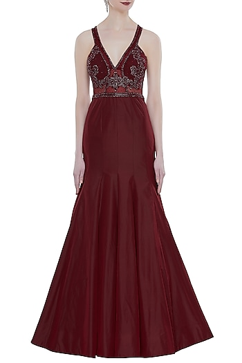 Maroon Hand Embroidered Mermaid Style Gown by Rocky Star