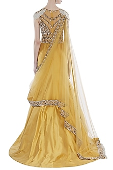 Yellow Hand Embroidered Mermaid Gown With Attached Dupatta by Rocky Star