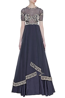 Dark Grey Hand Embroidered Layered Pleated Gown by Rocky Star