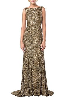 Golden Open Back Trail Gown by Rocky Star