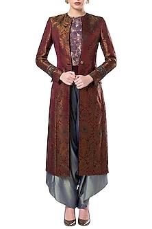 Teal Longline Sherwani Style Overcoat by Rocky Star
