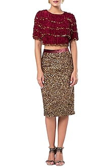 Velvet Red Tassels and Beads Crop Top by Rocky Star