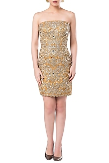 Dark Brown Pearls and Sequins Gown by Rocky Star