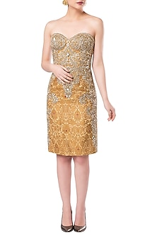 Golden Strapless Embroidered Sheath Dress by Rocky Star