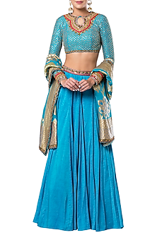 Blue Embroidered Lehenga Set by Rocky Star