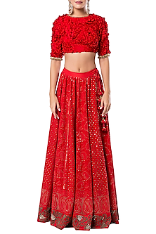 Red Lucknowi Embroidered Lehenga Set by Rocky Star