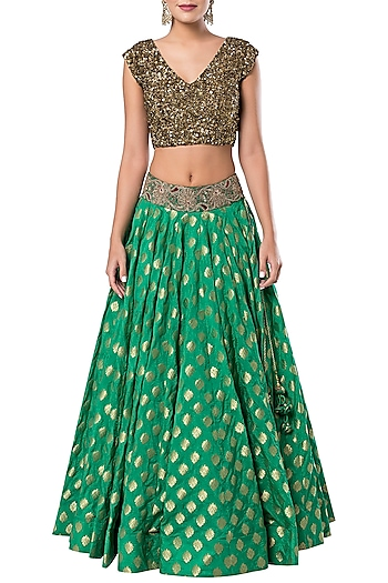 Green Floral Embroidered Lehenga Set by Rocky Star