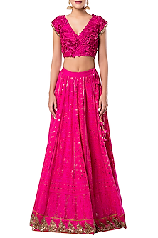 Hot Pink Lucknowi Embroidered Lehenga Set by Rocky Star