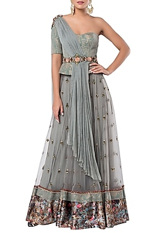 Grey Embroidered Lehenga Set with A Center Waist Belt by Rocky Star