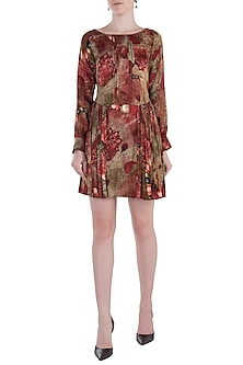 Red Printed Pleats Tunic by Rocky Star