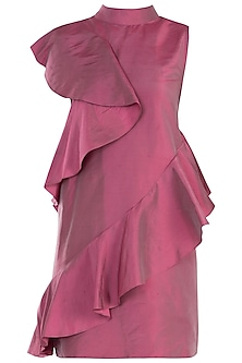 Onion Pink High-Low Ruffle Dress by Rocky Star