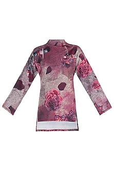 Pink Printed Full Sleeves Top by Rocky Star