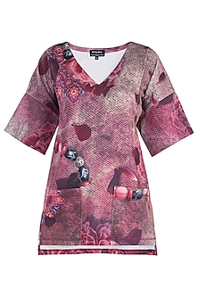 Pink Printed Flared Sleeves Top by Rocky Star