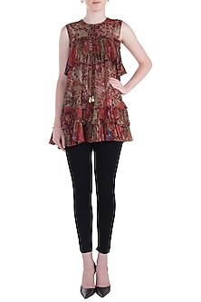 Red Printed Flared Top by Rocky Star
