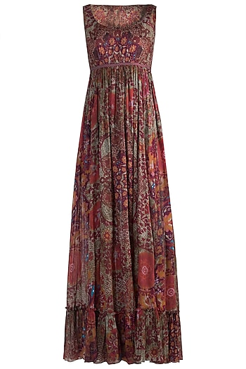 Red Printed Maxi Dress by Rocky Star