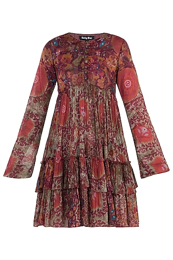 Red Printed Full Sleeves Dress by Rocky Star
