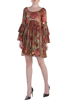 Red Flared Printed Dress by Rocky Star