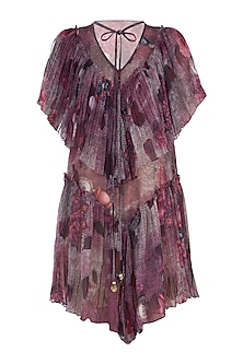 Purple Gathered Printed Dress by Rocky Star