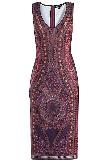 Purple Printed Sleeveless Dress by Rocky Star