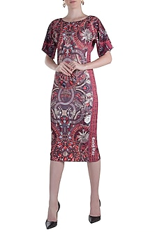 Purple Printed Midi Dress by Rocky Star