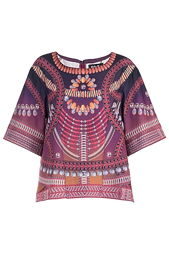 Purple Printed Flared Top by Rocky Star