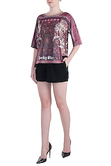 Purple Printed Round Neck Top by Rocky Star