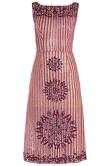 Red Embroidered Midi Dress by Rocky Star