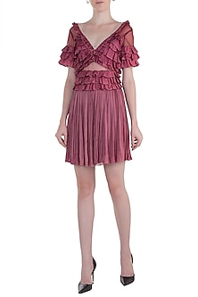 Pink Shell Button Frill Dress by Rocky Star