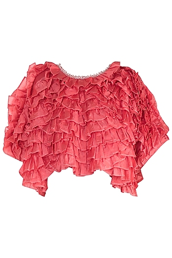 Peach Shell Button Frill Top by Rocky Star
