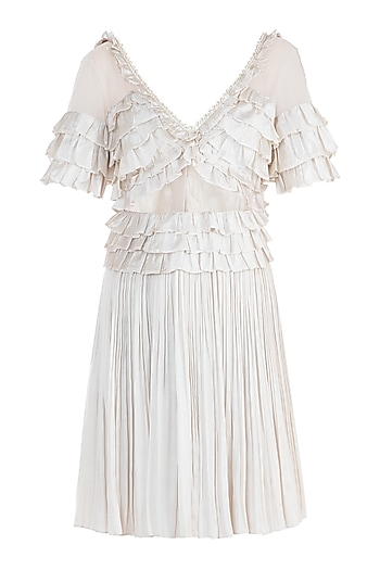 Ivory Shell Button Frill Dress by Rocky Star