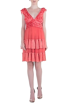 Peach Shell Button Frill Dress by Rocky Star