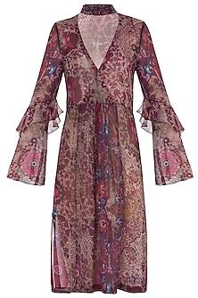 Red Printed Kaftan Dress by Rocky Star