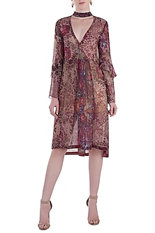 Red Printed Kaftan Dress by Rocky Star