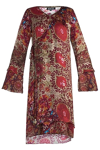Red Printed Flared Sleeves Kaftan Dress by Rocky Star