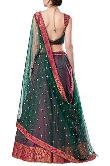 Multi colored embroidered lehenga set by ROCKY STAR