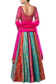 Multi colored hand embroidered lehenga set by ROCKY STAR
